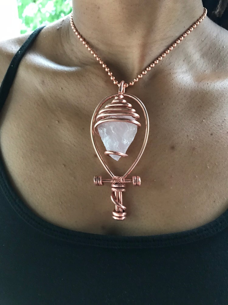 Image of Serpentine Wrapped Rough Rose Quartz Ankh