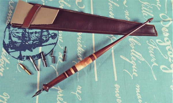 Image of Magnusson Styled Dip Pen in Indian Rosewood, Ambrosia Maple, Ebony, Bloodwood  & Holly +Leather Case