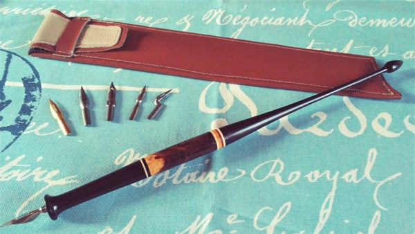 Image of Magnusson Styled Dip Pen in Ebony, Desert Ironwood, & African Blackwood w/ Leather Case & 6 Nibs