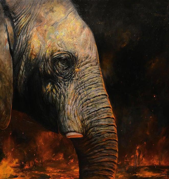 Image of Martin Wittfooth 'Katabasis' original painting