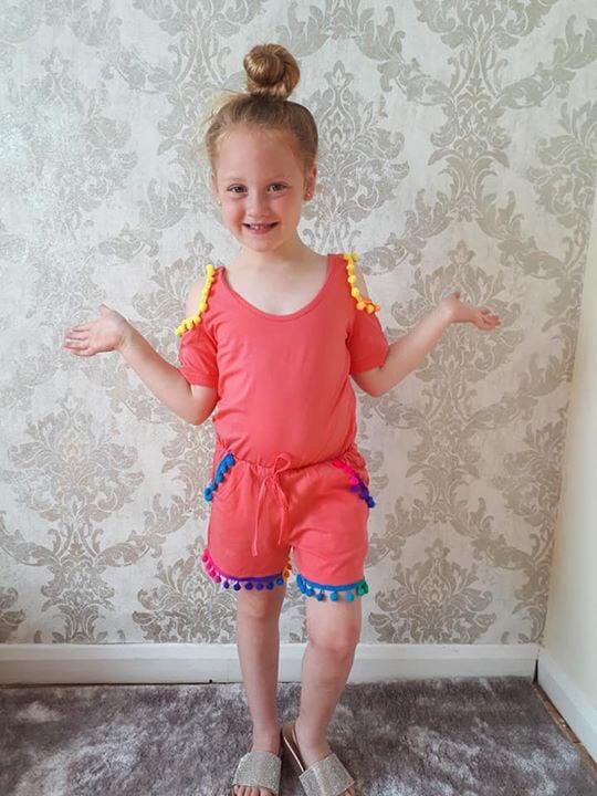 Image of Rainbow pom-pom play suit