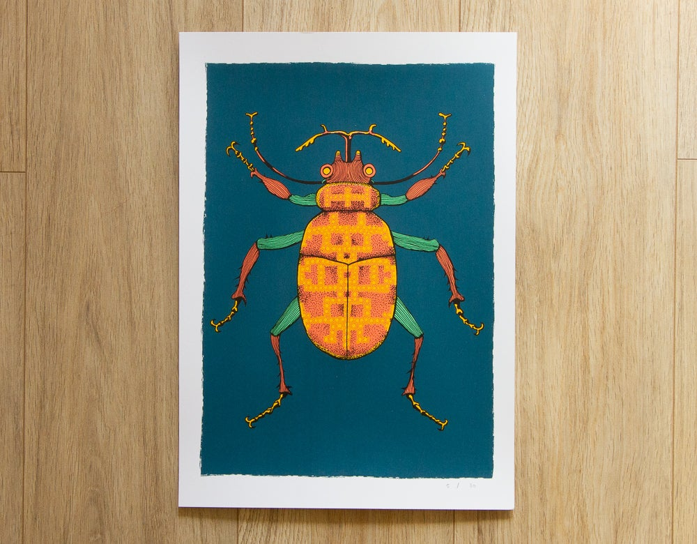 Image of 'Patterned Beetle' Screen Print