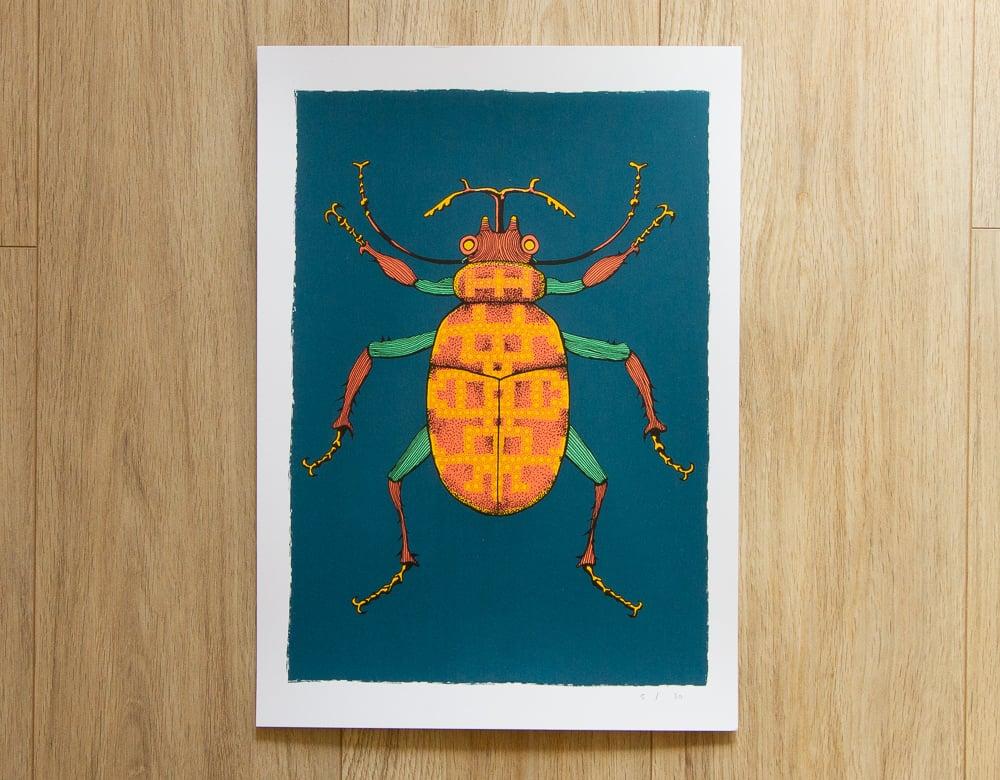 Image of 'Patterned Beetle' Screen Print