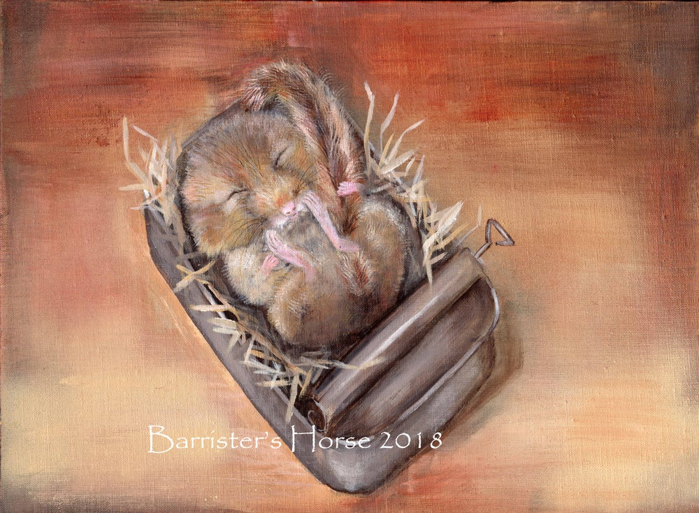 Image of SLEEPING DORMOUSE, ORIGINAL ACRYLIC ON LINEN PAINTING