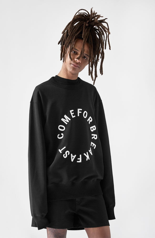 Image of SWEATSHIRT WITH WHITE EMBROIDERED ROUND COMEFORBREAKFAST LOGO - MAN