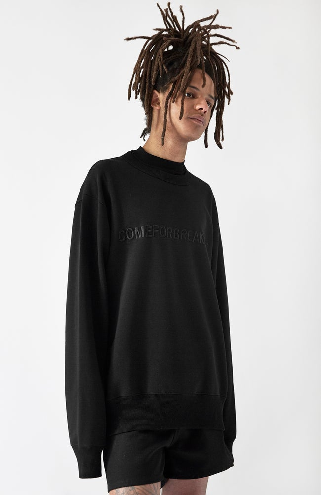Image of SWEATSHIRT WITH BLACK EMBROIDERED LINEAR COMEFORBREAKFAST LOGO - MAN