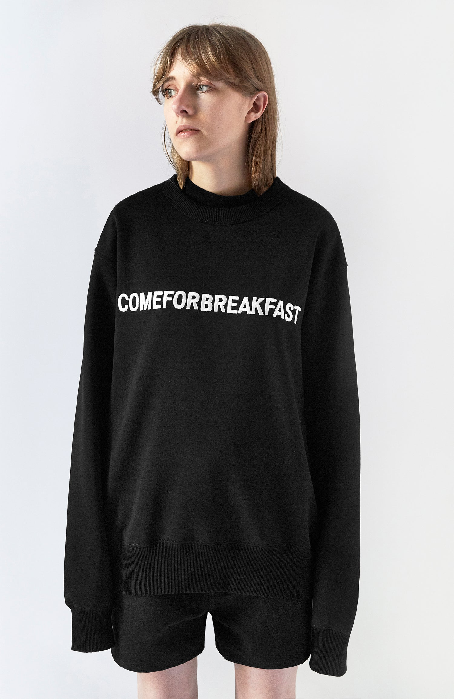 Image of SWEATSHIRT WITH WHITE EMBROIDERED LINEAR COMEFORBREAKFAST LOGO - WOMAN