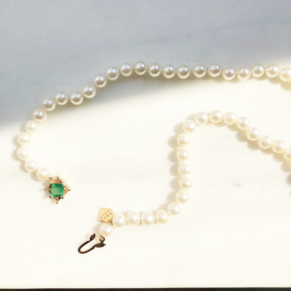 Image of Art Deco Emerald Pearl Bead Necklace