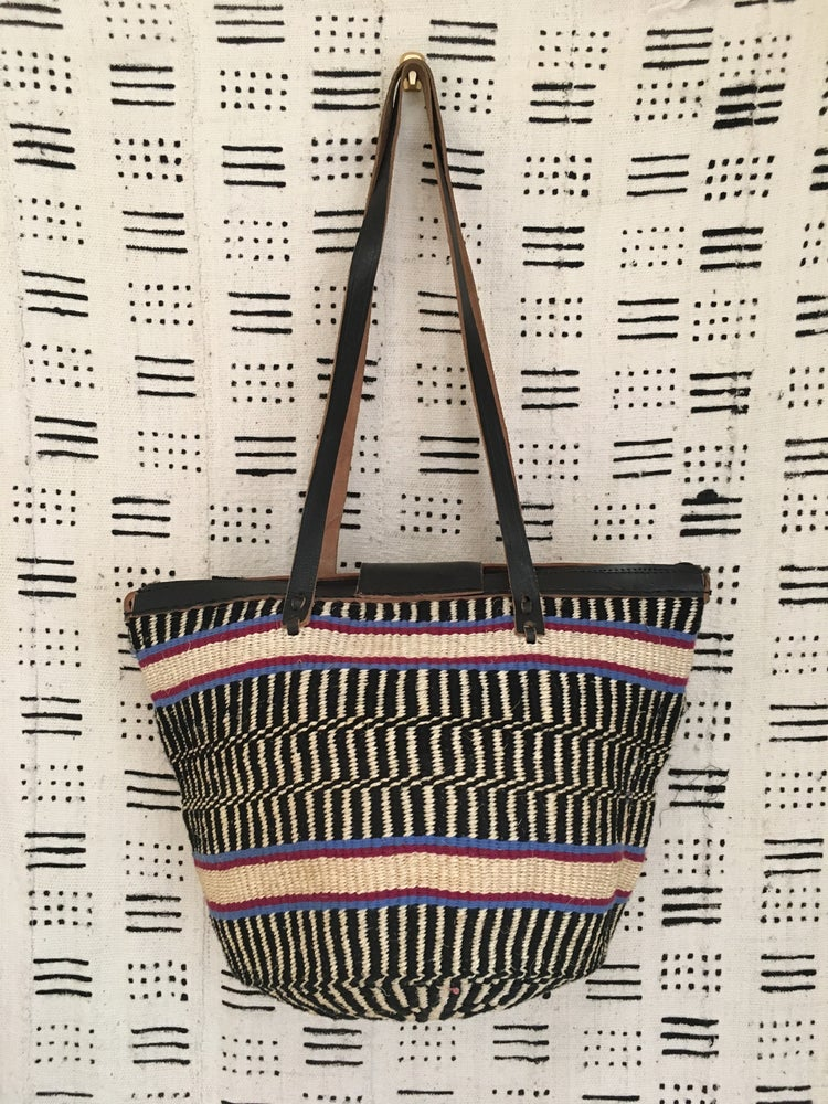 Image of •koriko• market bag - black/natural/peri multi
