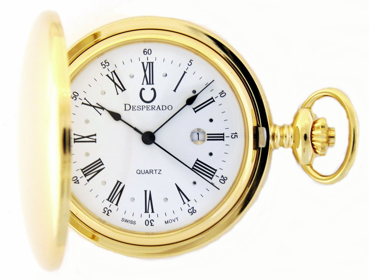 "Image of Desperado 740G ""Jefferson"" Gold Plated Swiss Quartz Pocket Watch"