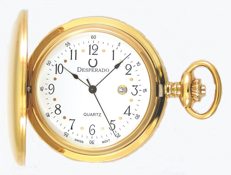 "Image of Desperado 739G ""Roosevelt"" Gold Plated Swiss Quartz Pocket Watch"
