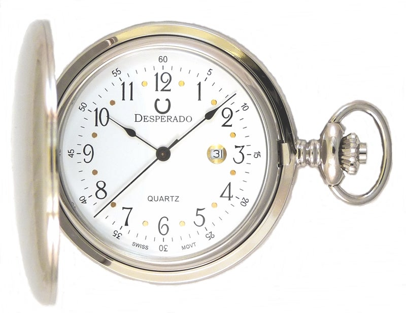 "Image of Desperado 739W ""Roosevelt"" Chrome Plated Swiss Quartz Pocket Watch"