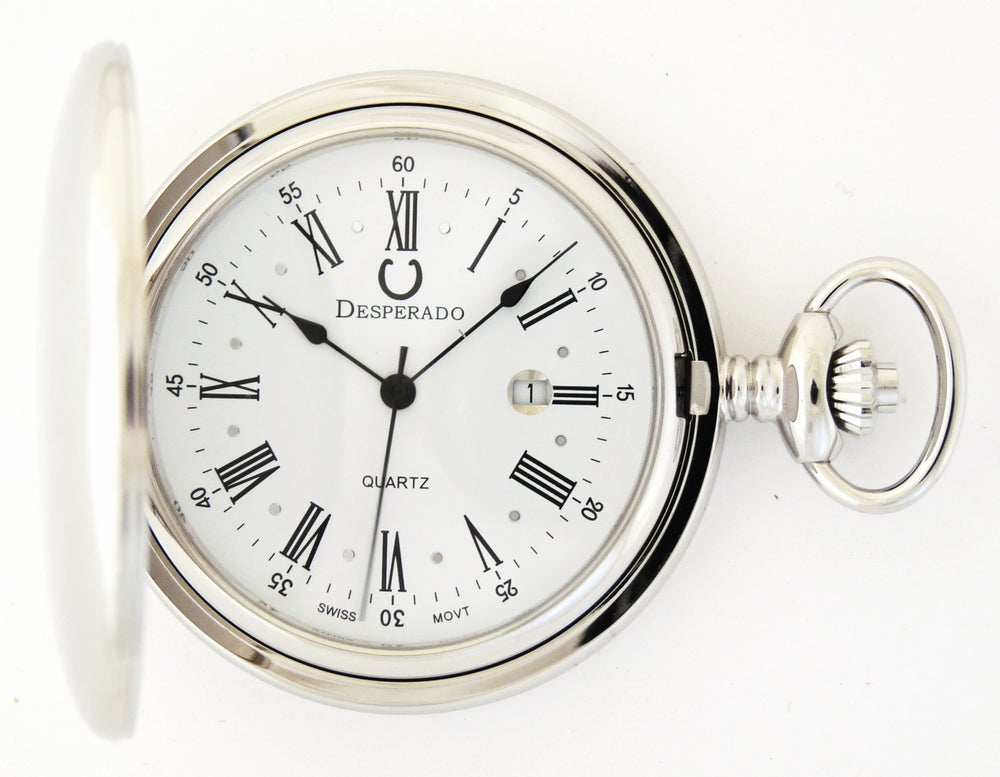 "Image of Desperado 740W ""Jefferson"" Chrome Plated Swiss Quartz Pocket Watch"
