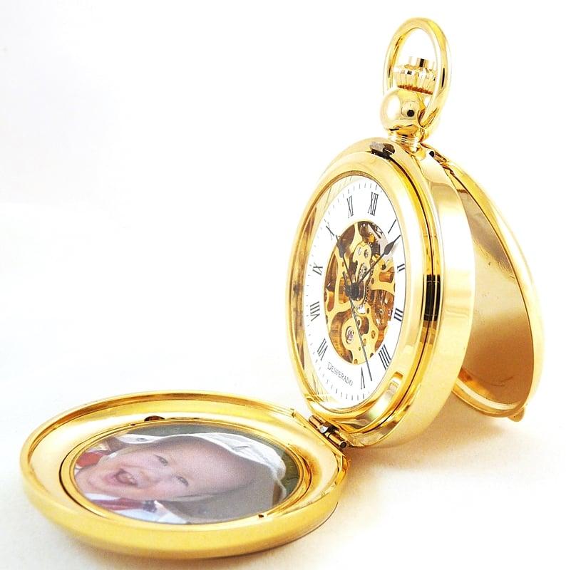 "Image of Desperado 651G ""Riverside"" Photo Insert Pocket Watch 17 Jewel Wind Up Mechanical Movement"