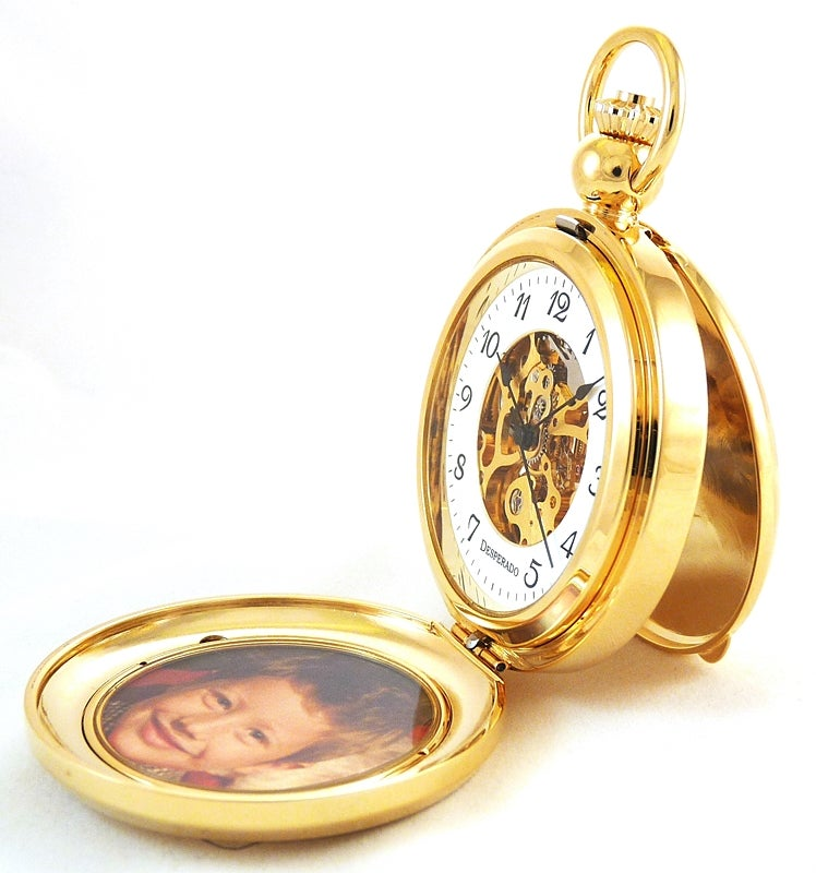 "Image of Desperado 650G ""Seaside"" Photo Insert Pocket Watch 17 Jewel Wind Up Mechanical Movement"