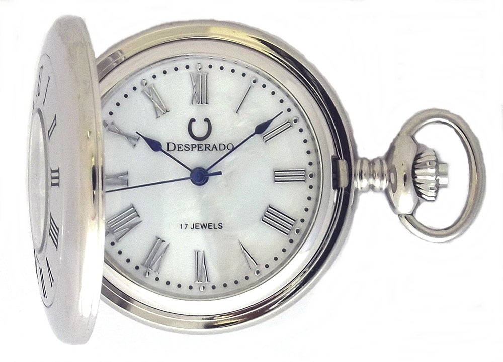 "Image of Desperado 663W ""Silver Springs"" 17 Jewel Wind Up Pocket Watch Genuine Mother of Pearl Dial"