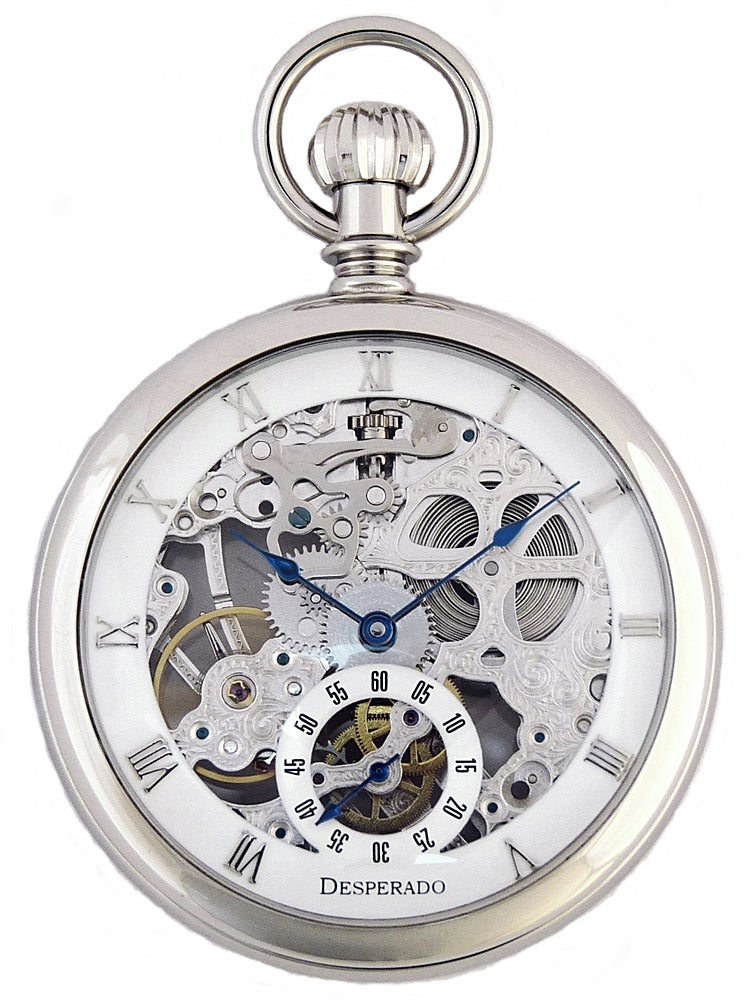 "Image of Desperado 566W ""Golden Gate"" Wind Up Pocket Watch High Grade Skeletonized Movement"