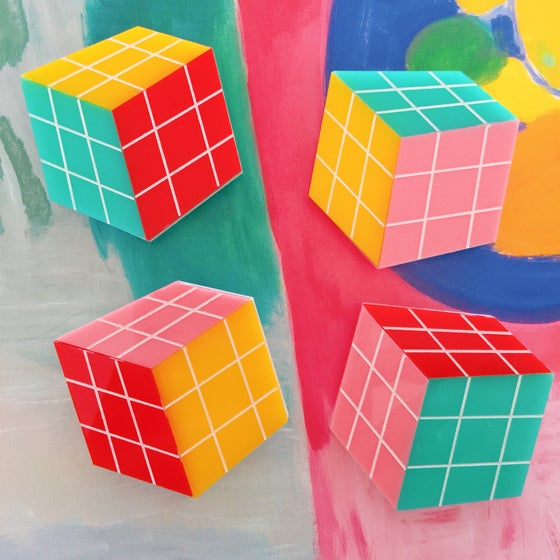 Image of Rubiks Cube Brooch (4 COLOURWAYS)