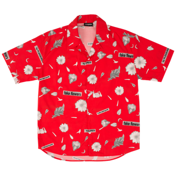 Image of PLEASURES - FAKE FLOWERS CAMP SHIRT (RED)