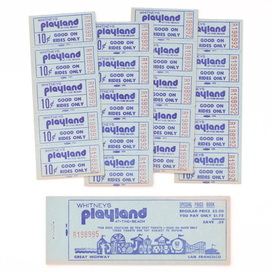 "Image of Vintage ""Playland"" Amusement Park Ticket Booklet"