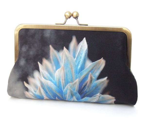 Image of Blue flower silk clutch bag