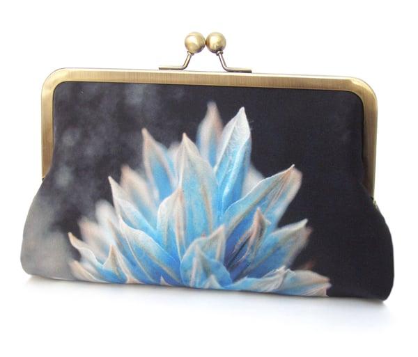 Image of Blue flower silk clutch bag
