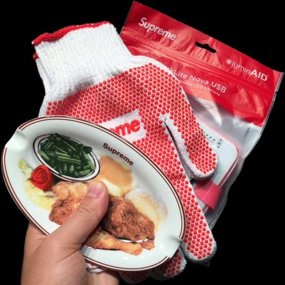 Image of 2018 Chicken Dinner Ashtray, Grip Work Gloves, & LUMINAID PACKLITE NOVA USB