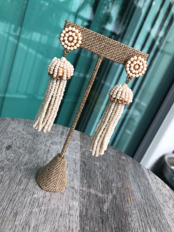 Image of Beaded tassel earrings.