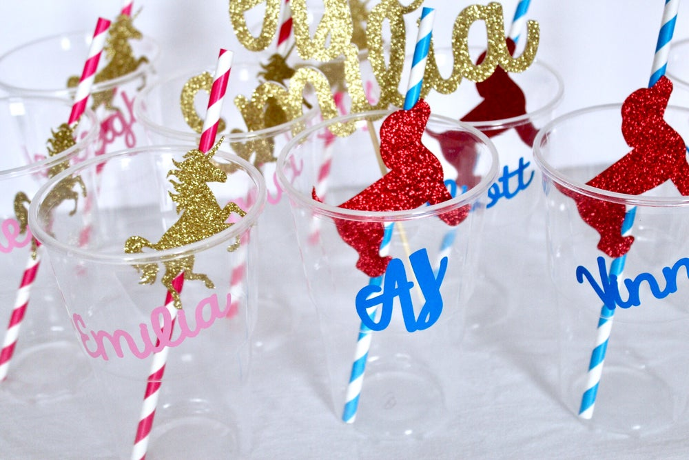 Image of Personalised cups and flagged straws