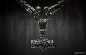 Image of Thor's Hammer : MJOLNIR DARK - Wolfs Leather Necklace