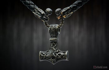 Image of Thor's Hammer : MJOLNIR DARK - Leather Necklace with Wolf's Head Ends