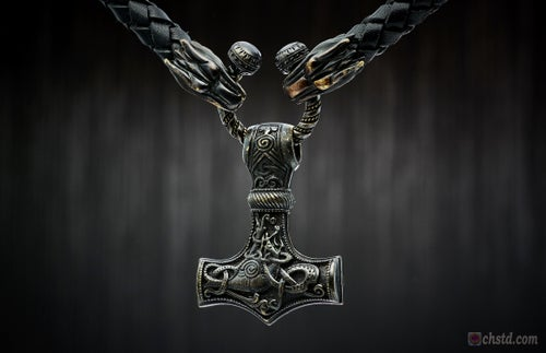 Image of THOR'S HAMMER : MJOLNIR DARK - Wolfs Leather Necklace