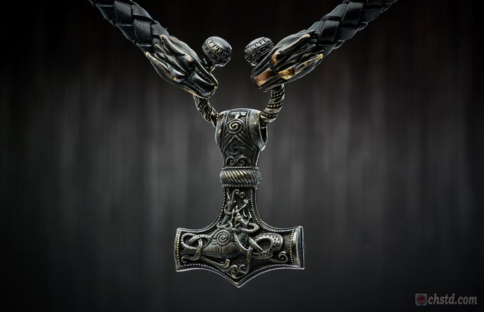 Image of THOR'S HAMMER : MJOLNIR DARK- Leather Necklace With Bronze Dark Wolf Heads - HANDMADE