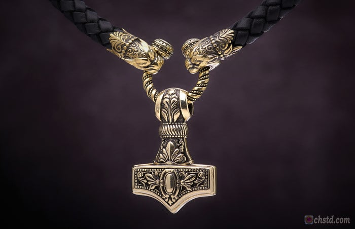 Image of MJOLNIR : THOR'S HAMMER - Leather Necklace With Bronze Heads - HANDMADE