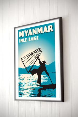 Image of Vintage poster Myanmar #Inle Lake blue