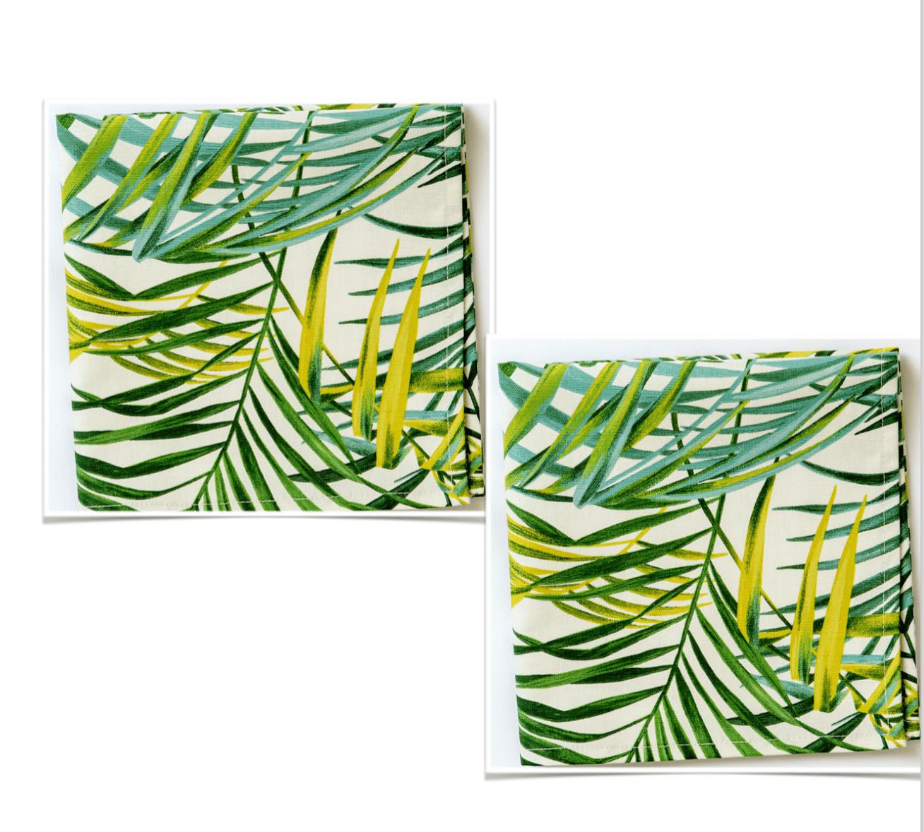 Image of 2 Palm Collection cotton napkins   -               Tovaglioli in cotone Collezione Palm (set da 2)