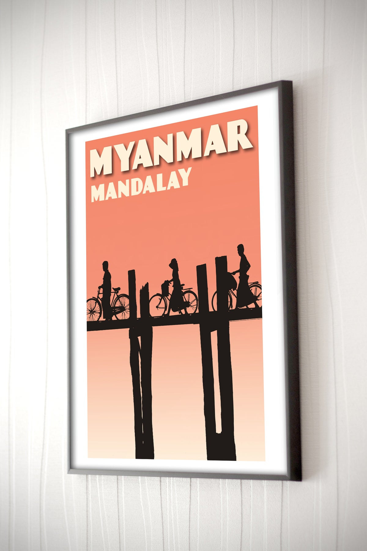 Image of Vintage poster Myanmar #Mandalay - U Bein Bridge