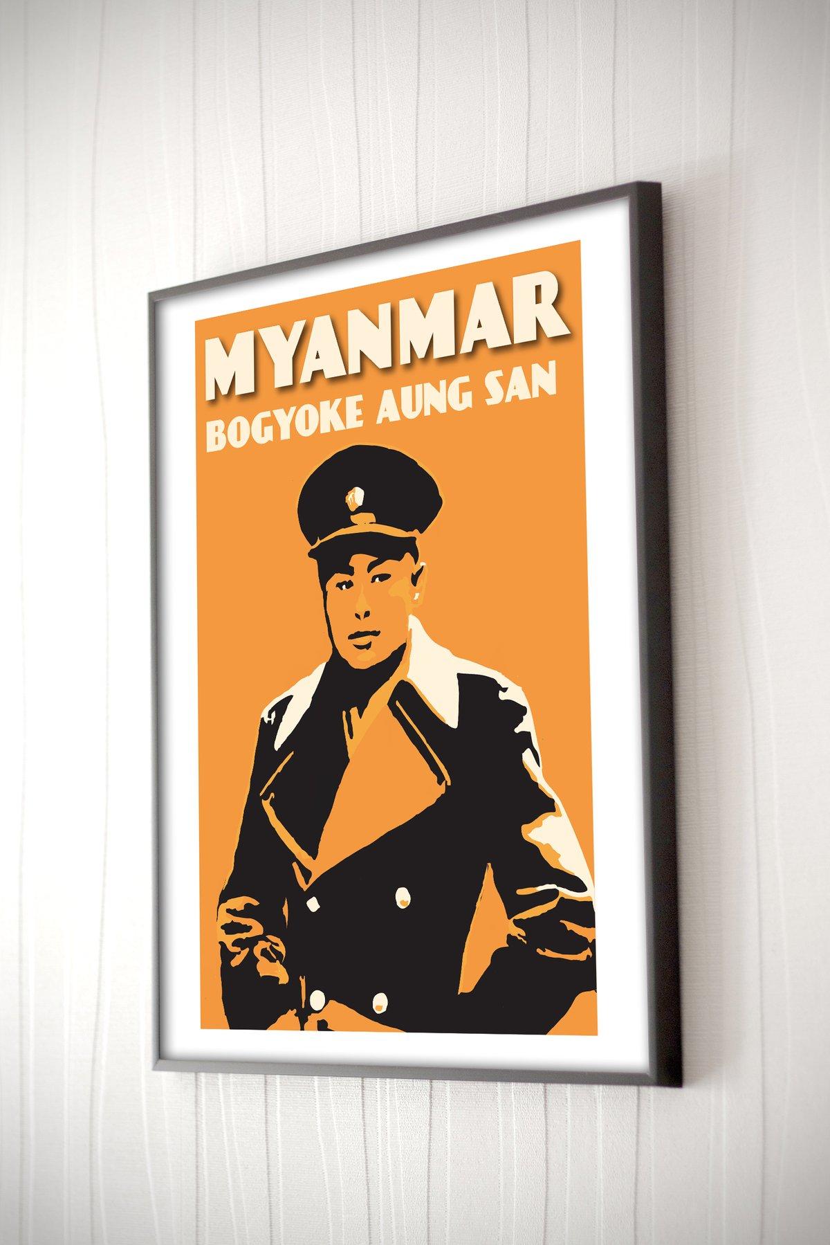 Image of Vintage poster Myanmar #Bogyoke Aung San 3