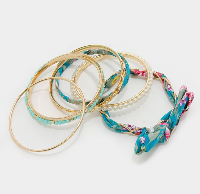 Image of Floral Ribbon Bangles