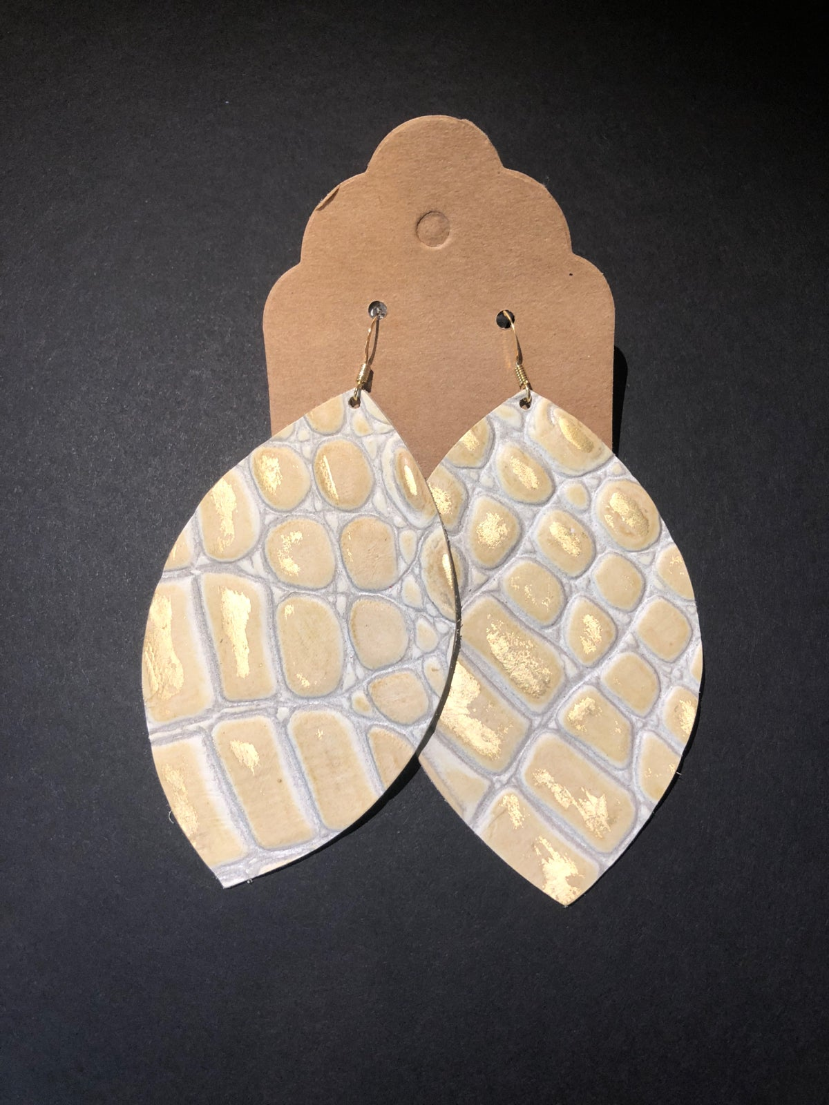 Image of Handmade Earrings - Gold and Cream Alligator Large Leaf