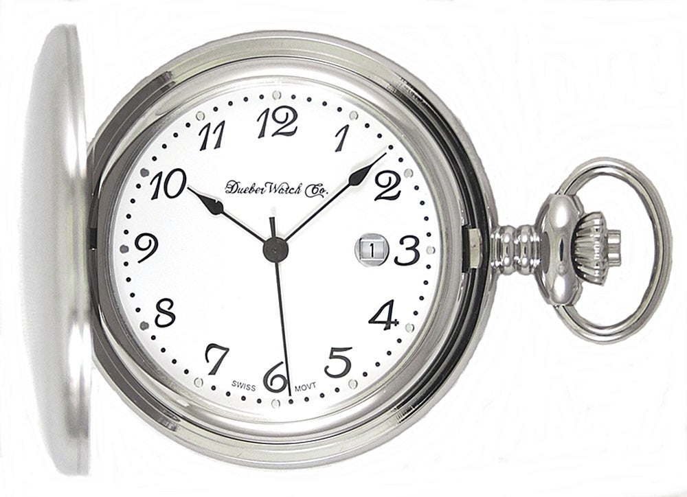 Image of Dueber Pocket Watch, Swiss Made Movement, High Polished Chrome Plated Steel Case 312-110