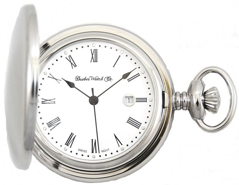 Image of Dueber Pocket Watch, Swiss Made Movement, High Polished Chrome Plated Steel Case 312-210