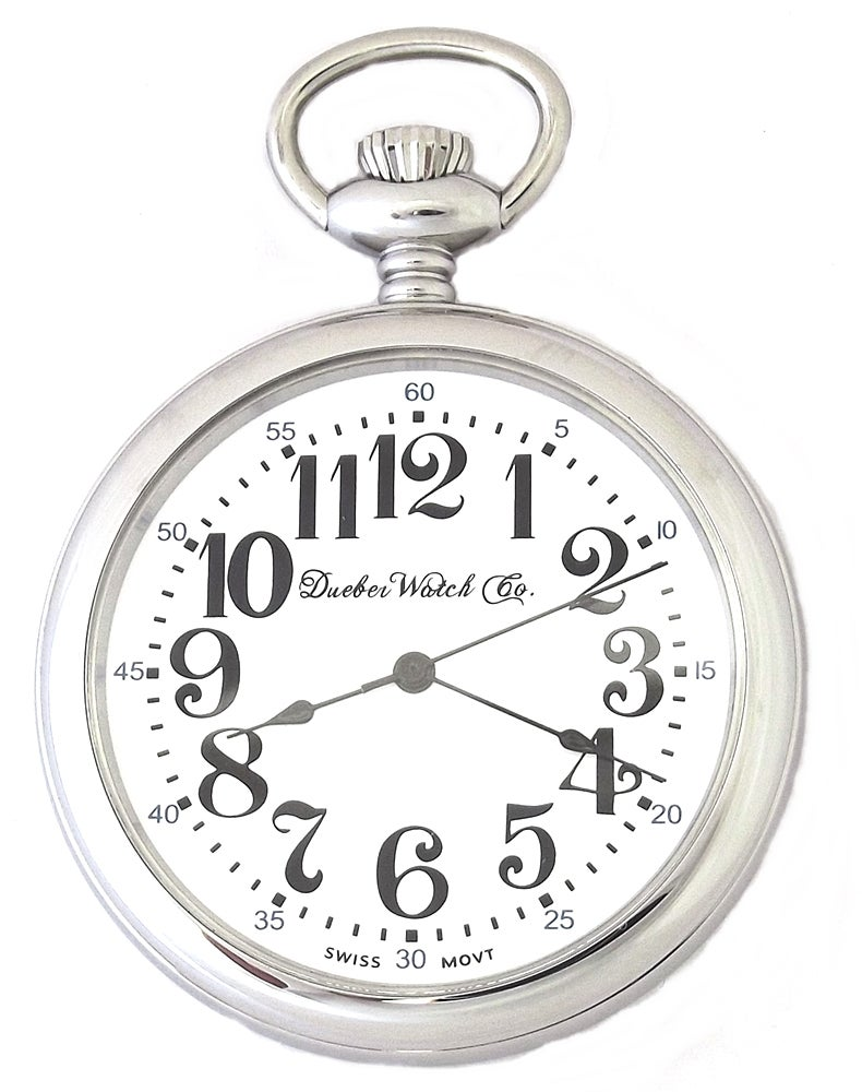 Image of Dueber Railroad Style Pocket Watch, High Polished Chrome Plated Steel Case 112-310