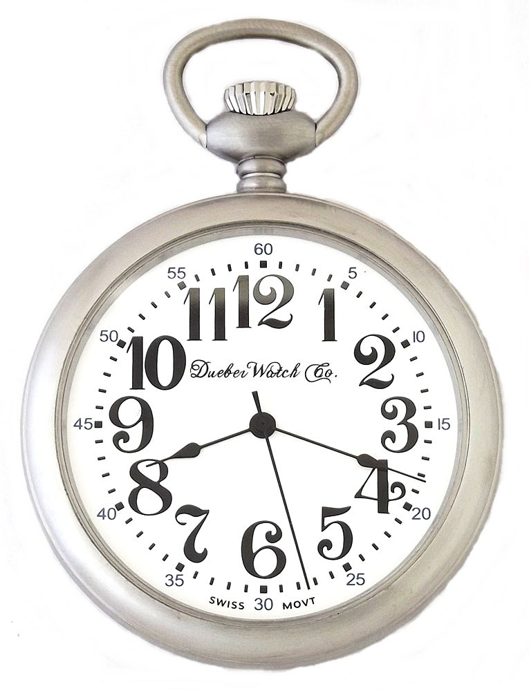 Image of Dueber Railroad Style Pocket Watch, Satin Chrome Plated Steel Case 122-310