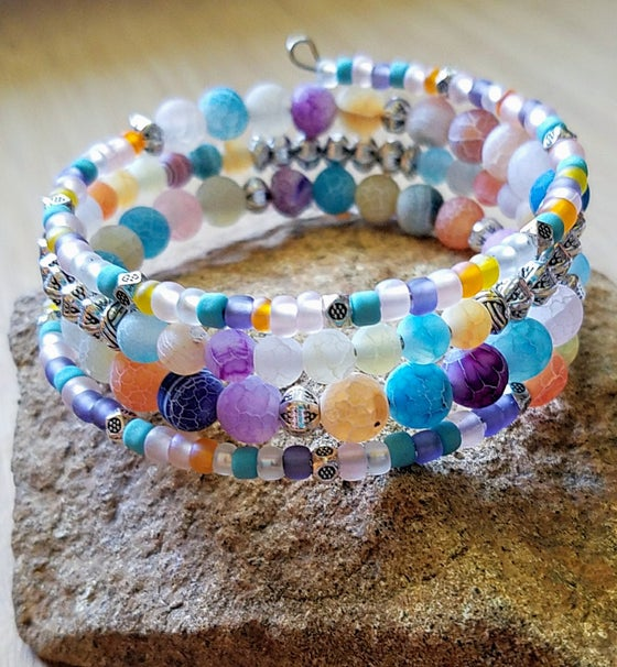 Image of Rainbow Cracked Agate Wrap Bracelet