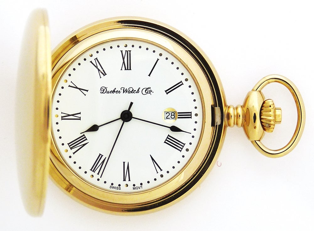 Image of Dueber Pocket Watch with Swiss Made Movement, Gold Plated Steel Case 412-210