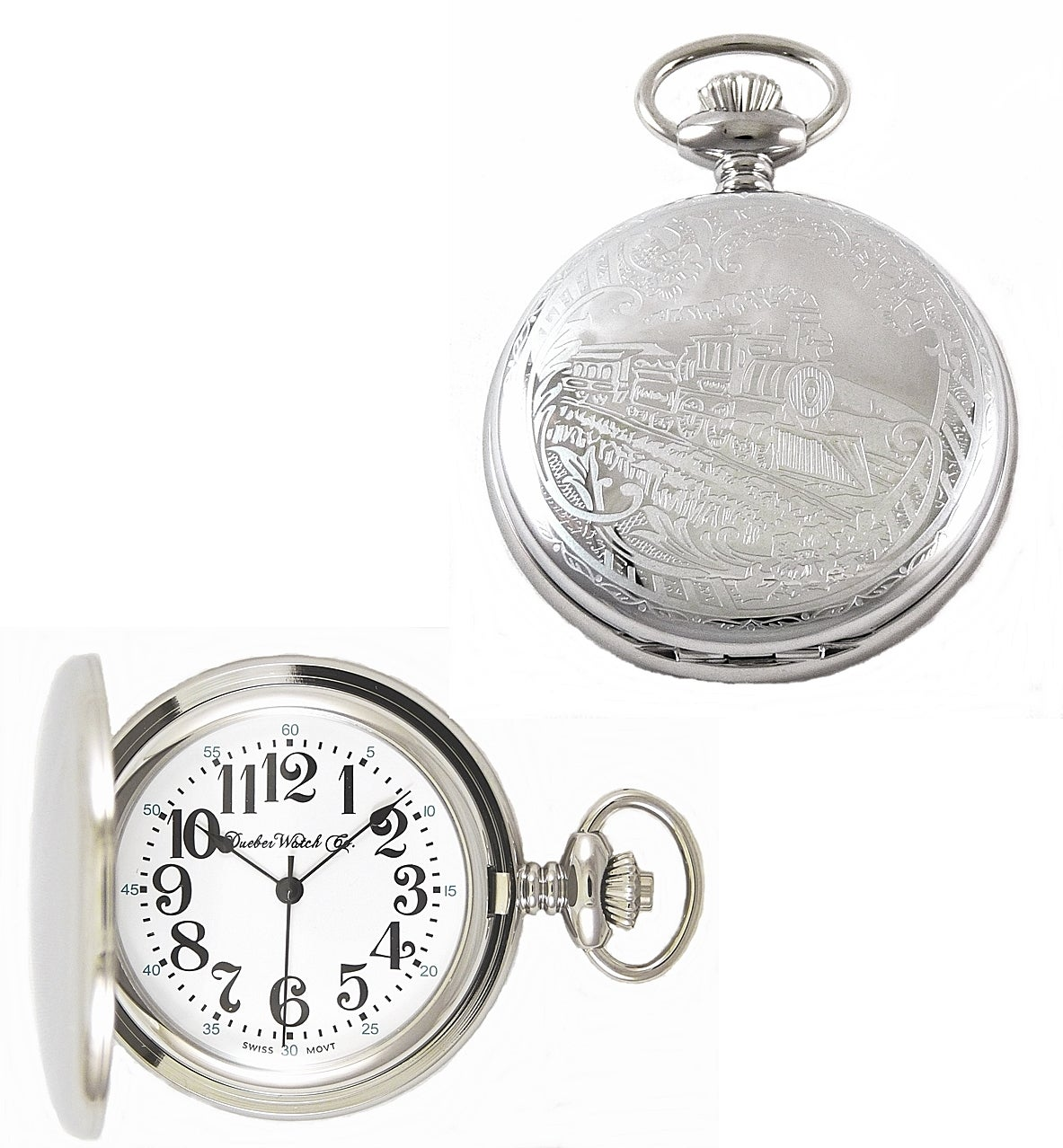 Image of Dueber Pocket Watch, Swiss Made Movement, Chrome Plated Steel Case with Locomotive 332-310