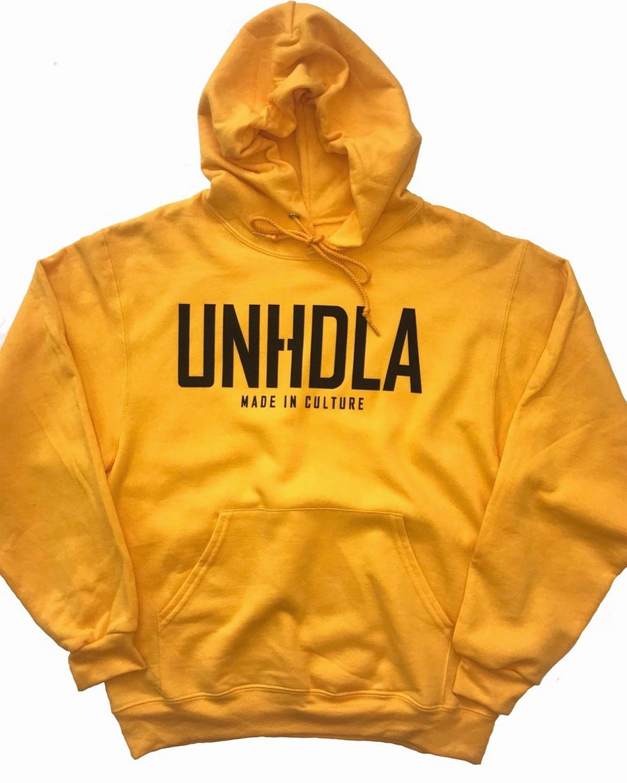 Image of UNHDLA made in culture gold hoodie