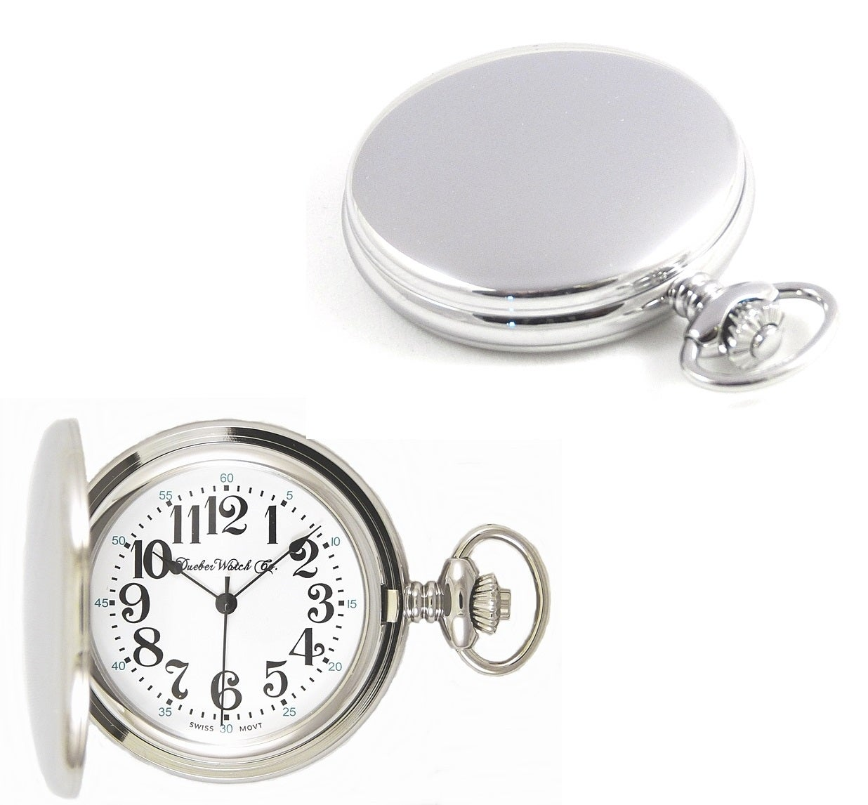 Image of Dueber Pocket Watch, Swiss Made Quartz Movement, Chrome Plated Steel Hunting Case 312-310