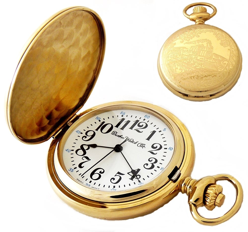 Image of Dueber Pocket Watch, Swiss Made Movement, Gold Plated Steel Case with Locomotive 432-310